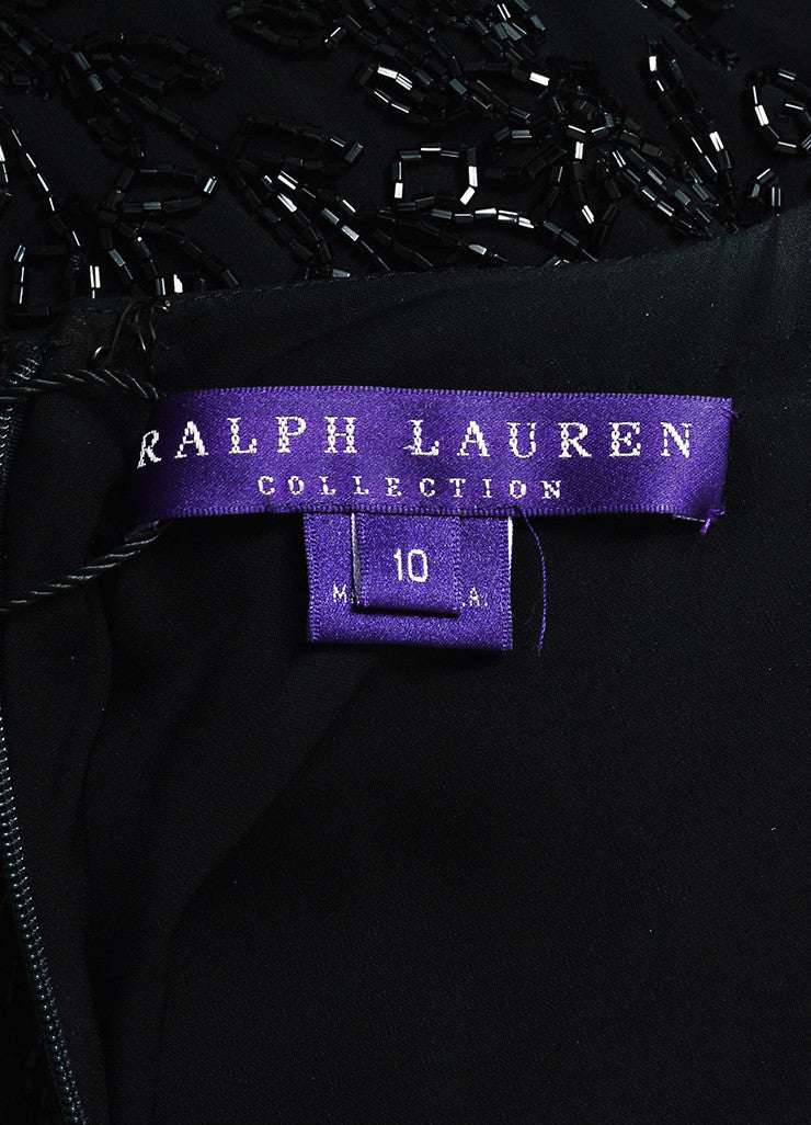 Ralph Lauren Purple Label Black Silk Beaded Open Back Cap Sleeve Gown Brand