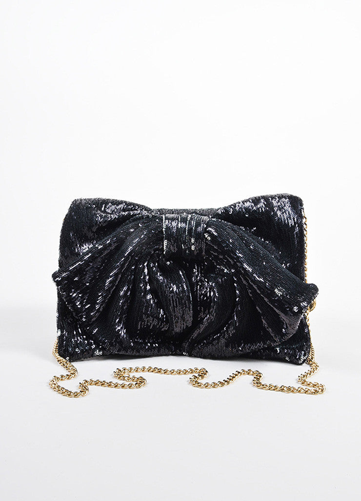 Red Valentino Black Sequin Bow Chain Shoulder Bag Frontview