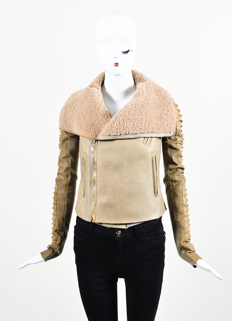 "Rick Owens ""Camel"" Tan Shearling Leather Zip Front Moto Jacket Frontview 2"