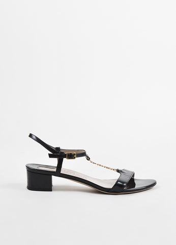 Black Salvatore Ferragamo Patent Leather Chain T-Strap Sandals Side
