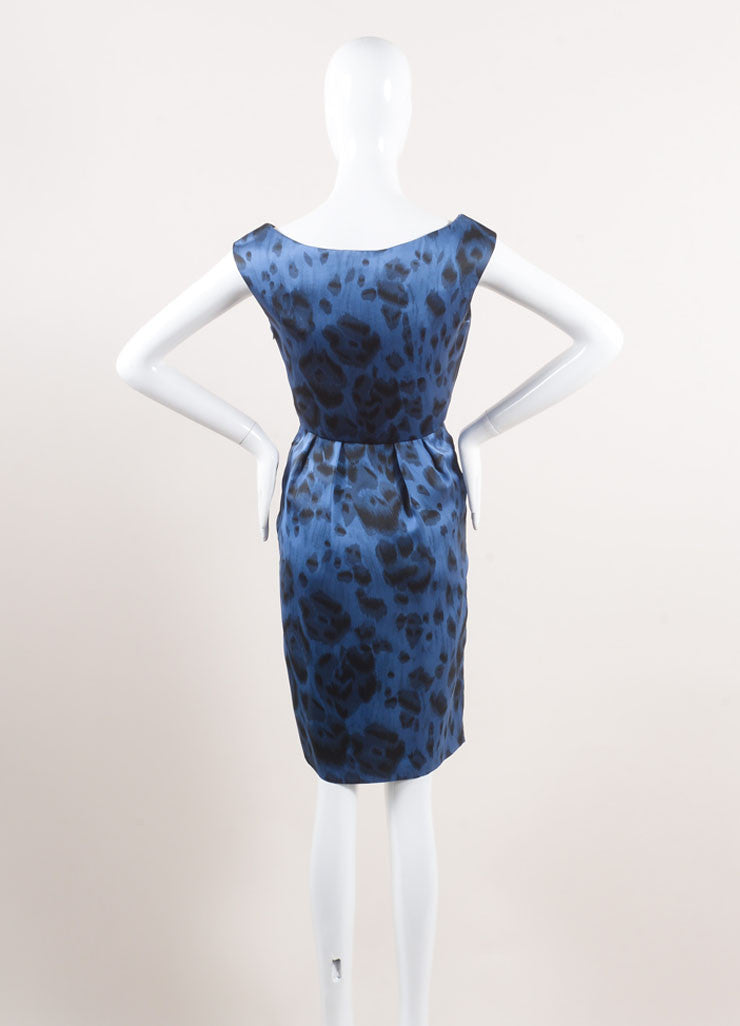 Stella McCartney New With Tags Blue and Black Silk Leopard Print Sleeveless Dress Backview