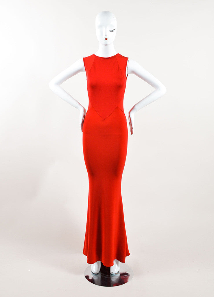 Stella McCartney Red Sleeveless Stretch Gown Frontview
