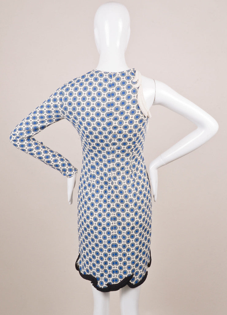 Stella McCartney White and Blue One Sleeve Dress Backview