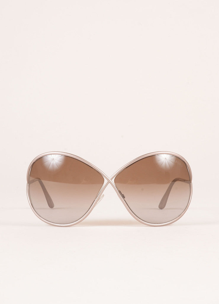 "Tom Ford Grey Metal ""Lilliana"" Butterfly Sunglasses Frontview"