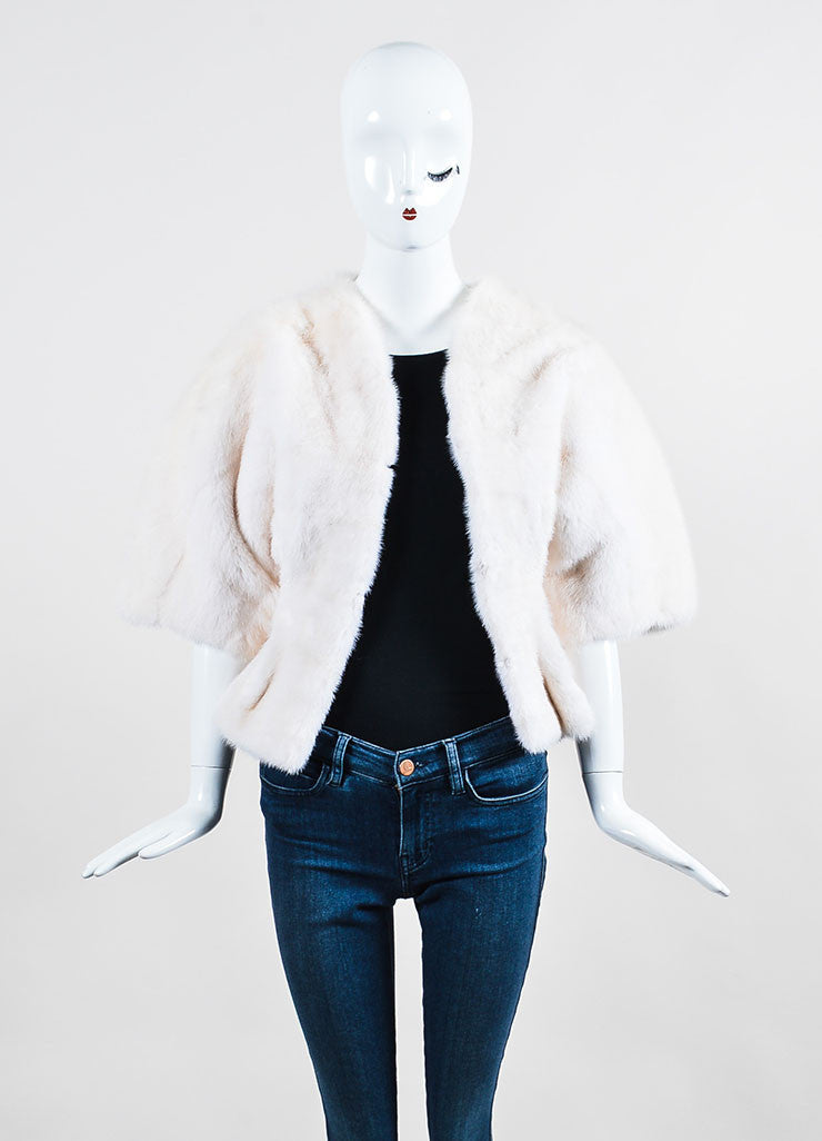Tuleh Cream Mink Fur Oversized Short Sleeve Jacket Frontview