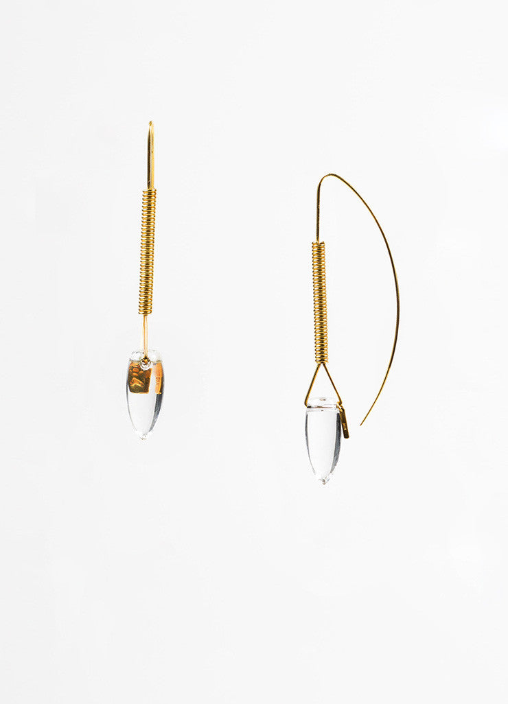 "Tina Chow 18K Yellow Gold Clear Rock Crystal ""Amfora"" Drop Earrings Sideview"