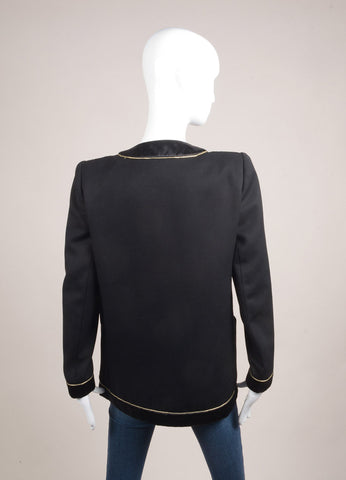 Valentino Black and Gold Metallic Silk and Wool Blazer Jacket Backview