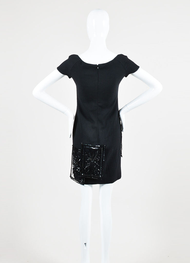 Valentino Black Wool and Silk Beaded Short Sleeve Sheath Dress Backview