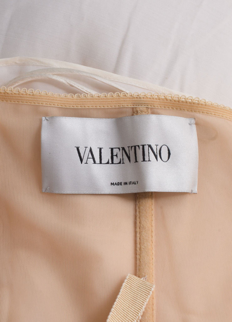 Valentino Cream Ruffled Strapless Mini Sheath Dress Brand