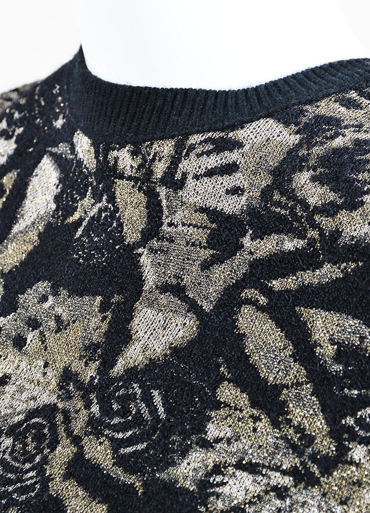 Black and Beige Valentino Metallic Floral Long Sleeve Sweater A-Line Dress Detail