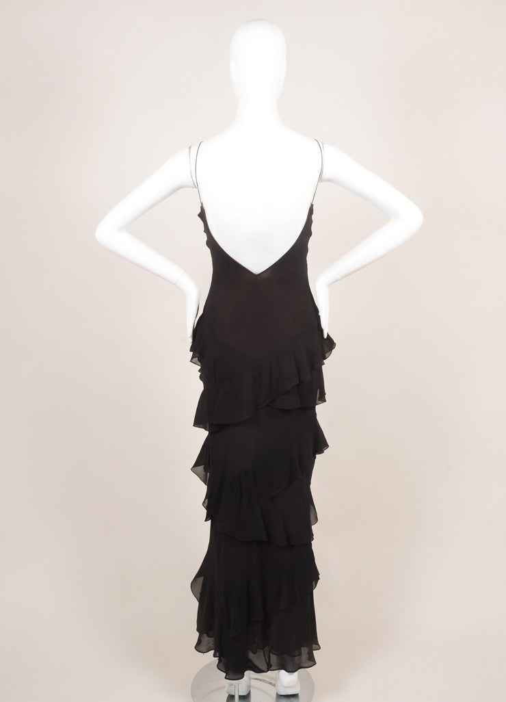 Vera Wang Black and Brown Ruffle Trim Floor Length Sleeveless Silk Gown Backview