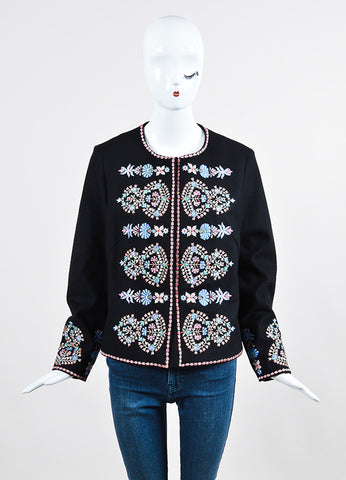 "Black and Multicolor Vilshenko Wool Embroidered ""Lara"" Jacket Frontview 2"