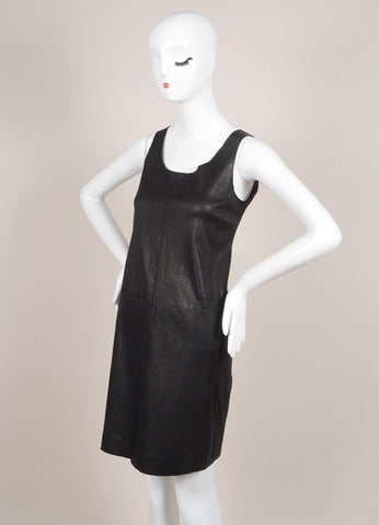 Vince New With Tags Black Leather Knit Contrast Sleeveless Dress Sideview