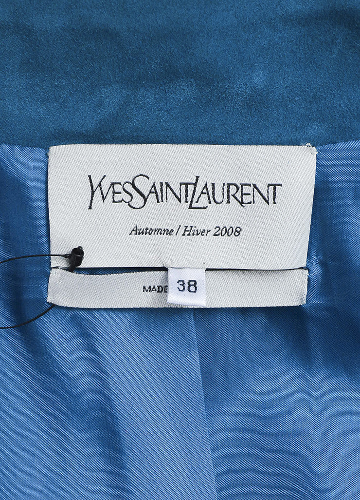 Cerulean Blue Yves Saint Laurent Suede Leather Zip Up Motorcycle Jacket Brand