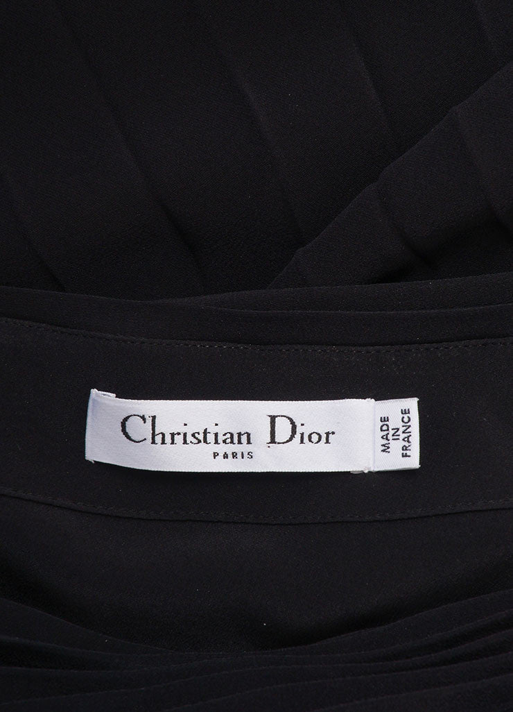 Dior New With Tags Black Silk Pleated  Asymmetrical One Shoulder Dress Brand