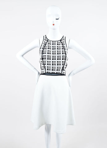 Black and White 10 Crosby Derek Lam Cotton Plaid Cut Away Fit & Flare Sleeveless Dress Frontview
