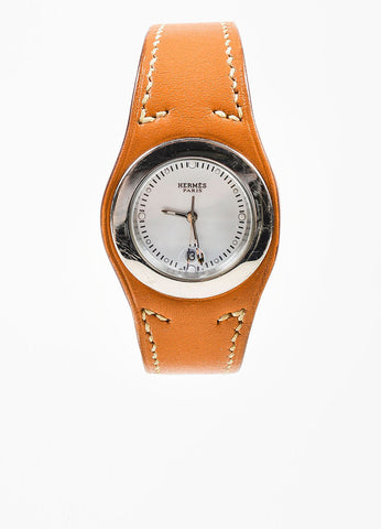 "Cognac Brown Hermes Leather and Stainless Steel ""Harnais"" Watch Frontview 2"
