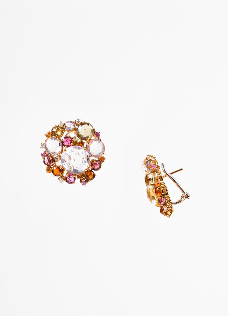 "A & Furst 18K Gold Pink Sapphire Diamond ""Bouquet"" Post Earrings Sideview"