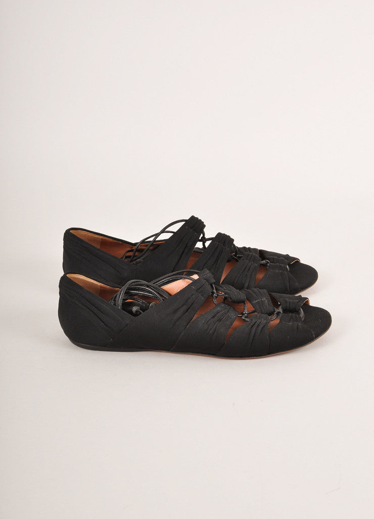 Alaia Black Textile Cut Out Lace-Up Open Toe Flats Sideview
