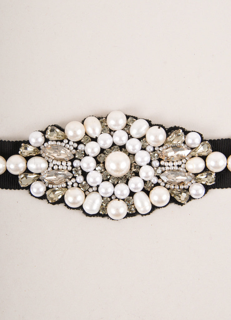 Andrew Gn New Black, Cream, and Clear Faux Pearl and Rhinestone Grosgrain Belt Detail
