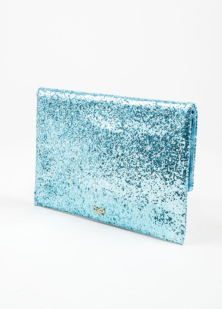 "Anya Hindmarch Aqua Blue Glitter Embellished ""Valorie"" Flap Clutch Bag Sideview"
