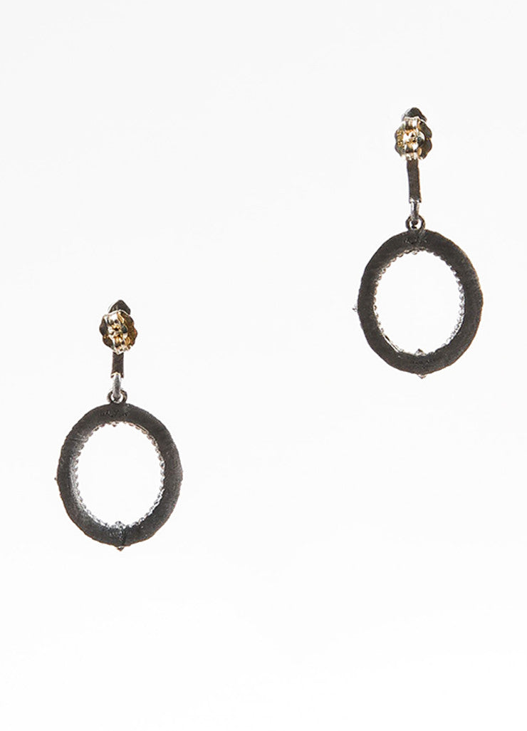 "Armenta Sterling Silver, 18K Gold, and Diamond ""New World"" Oval Drop Earrings backview"