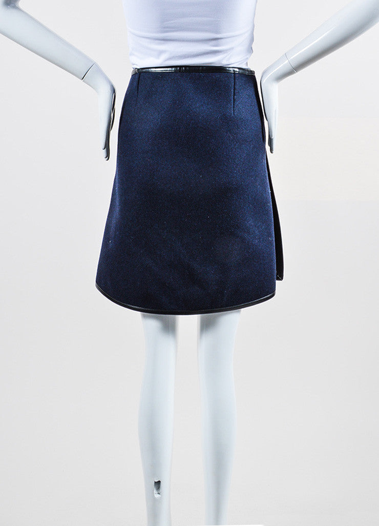 Grey, Navy, and Black Balenciaga Wool Silk Leather Trim Layered Flap Short Skirt Backview