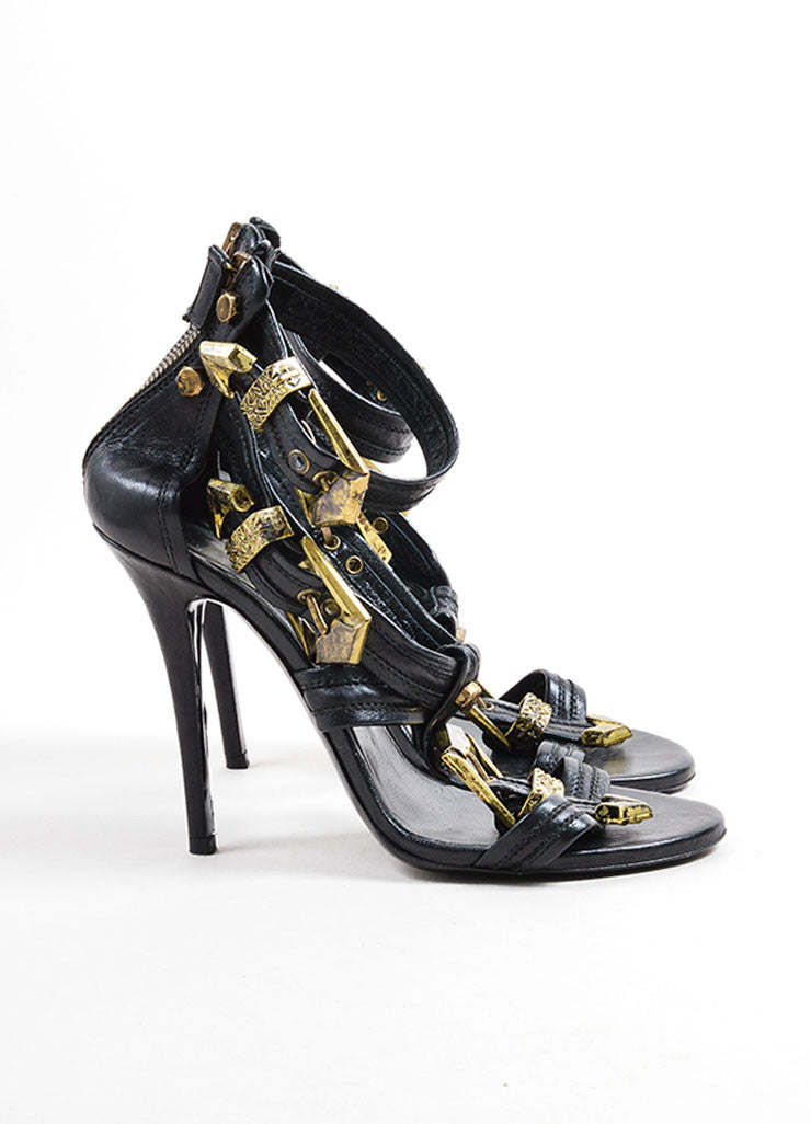 "Balmain Black Leather and Gold Toned Buckle Strappy ""Helene"" Sandals Sideview"
