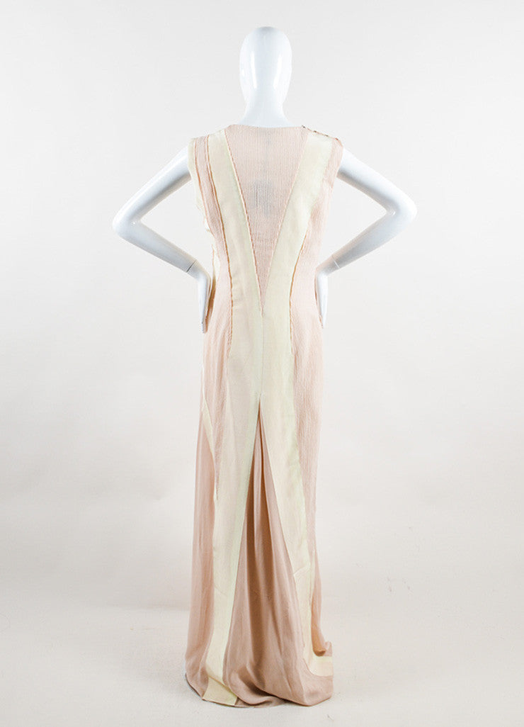 Bottega Veneta Blush and Cream Sleeveless Floor Length Evening Gown Backview