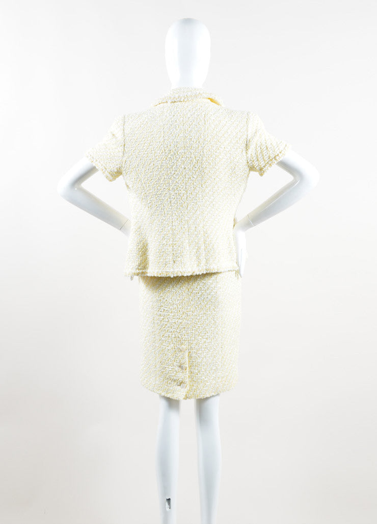 Chanel Yellow and White Woven Tweed Skirt Suit Back