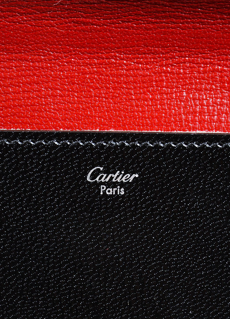 Black and Red Cartier Leather Silver Toned Hardware Envelope Shoulder Bag Brand