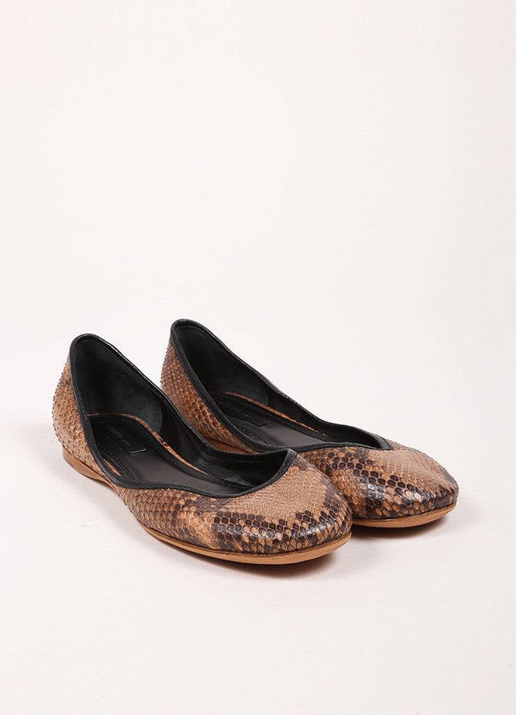 Celine Brown and Black Snakeskin Round Toe Flats Frontview
