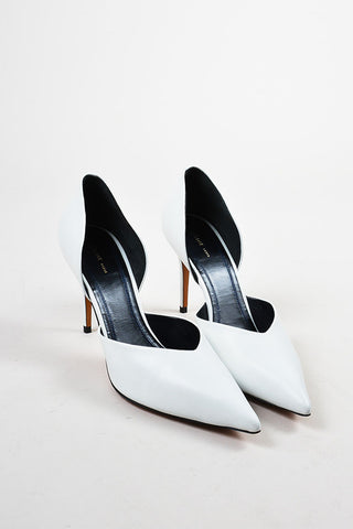 "Celine ""Optic"" White Leather Pointed Toe 90mm D'Orsay Pumps Frontview"
