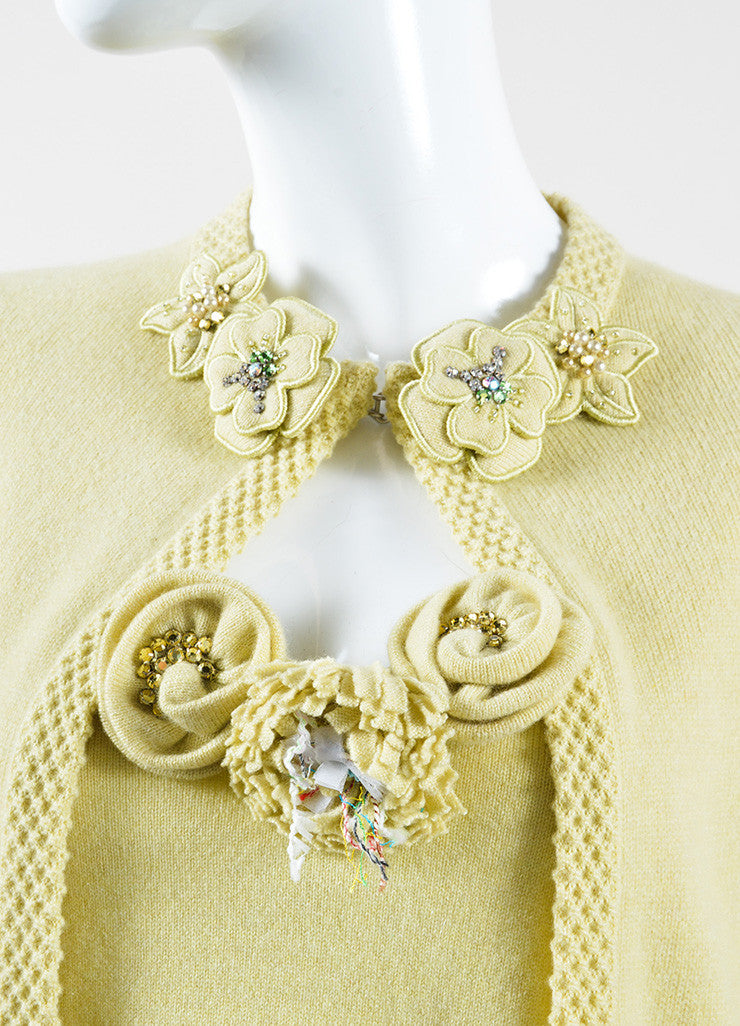 Chanel Chartreuse Cashmere Embellished Pin Cardigan and Shell Set Detail