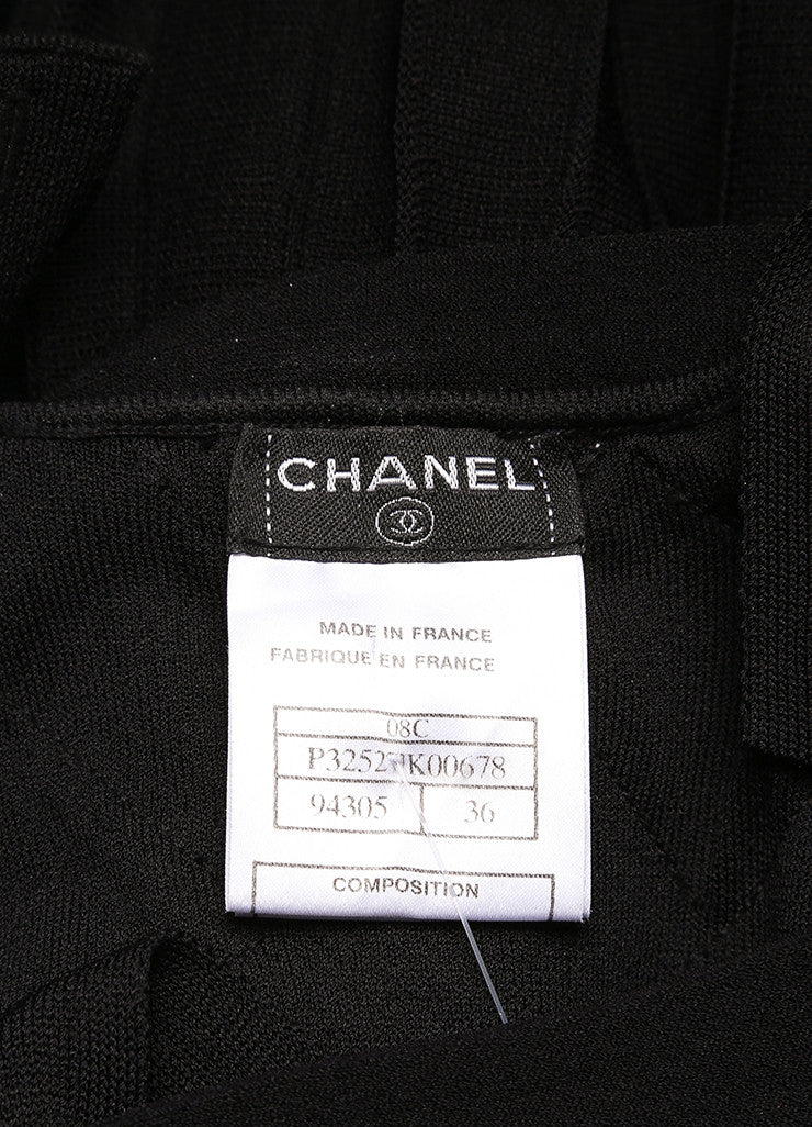 Chanel Black Knit Woven Pleated Empire Waist Sleeveless Dress Brand