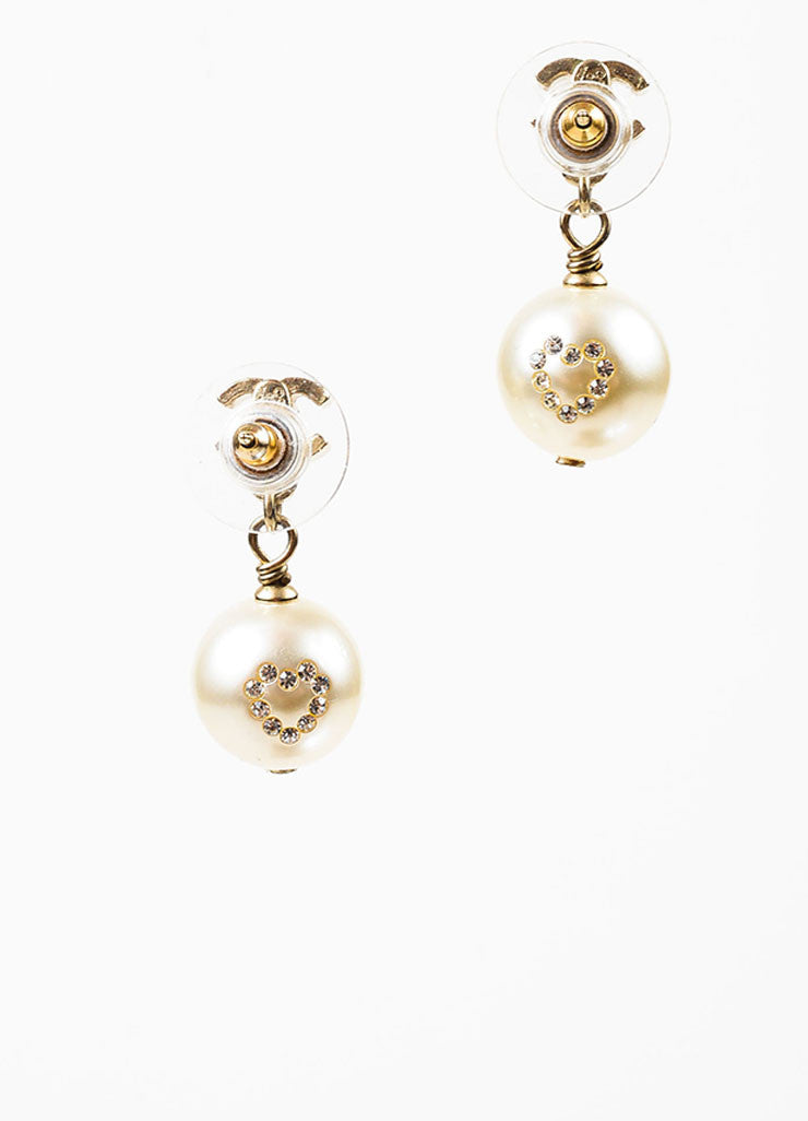 Gold Toned, Faux Pearl, and Rhinestone Heart Chanel 'CC' Logo Drop Earrings Backview