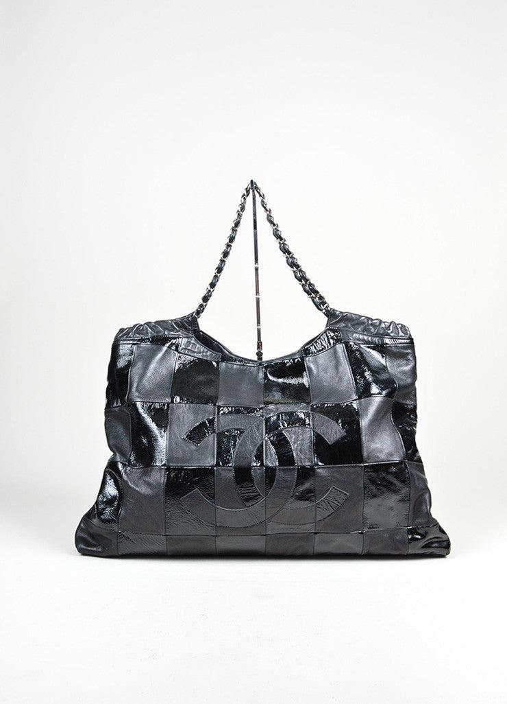 "Black Chanel Patent Leather Checkered ""Brooklyn Cabas"" Tote Bag Frontview"
