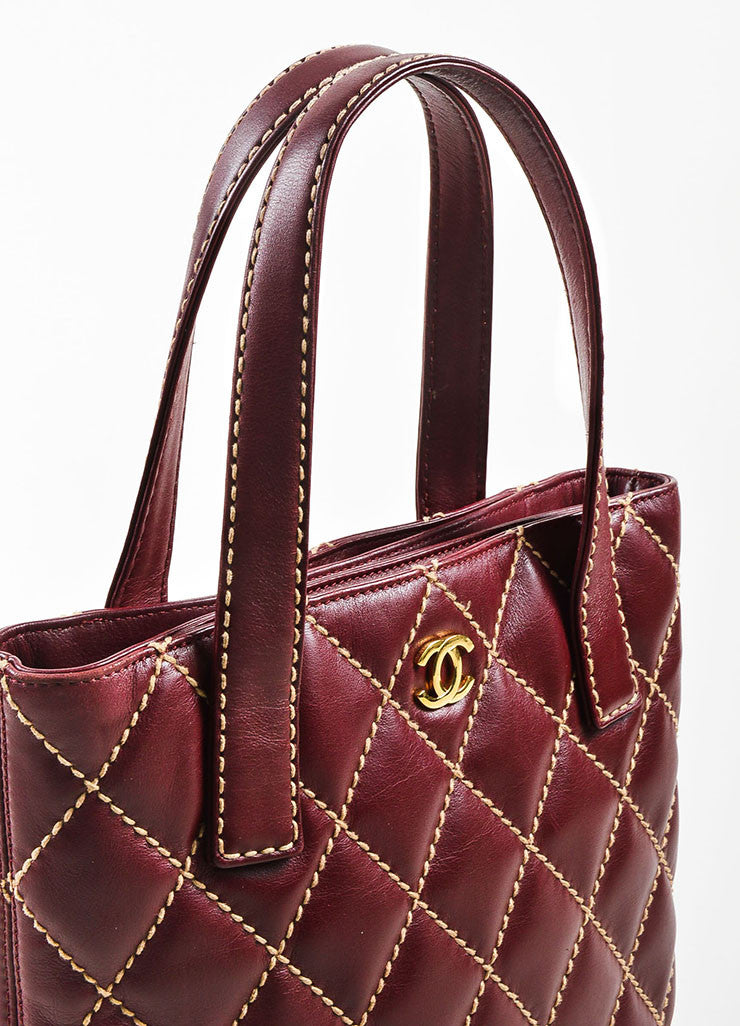 "Chanel Burgundy and Beige Leather Quilted ""Wild Stitch Small Tote"" Bag Detail 2"