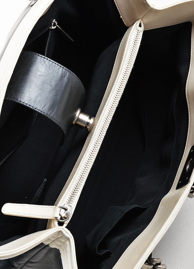 "Chanel Black and Cream Leather Quilted Trim Chain Strap ""Boy"" Shopper Tote Bag Interior"