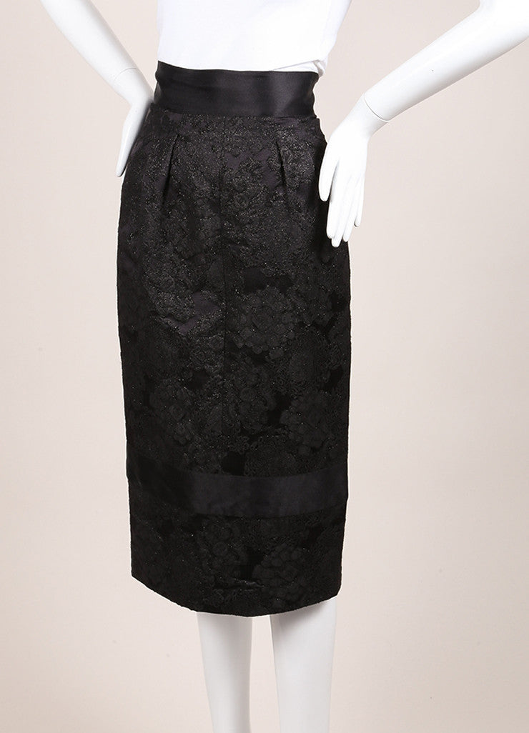 Chanel Black Wool and Silk Floral Brocade Embroidered Pencil Skirt Sideview