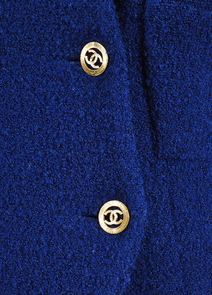 Blue Chanel Tweed Double Breast Jacket and Skirt Suit Detail