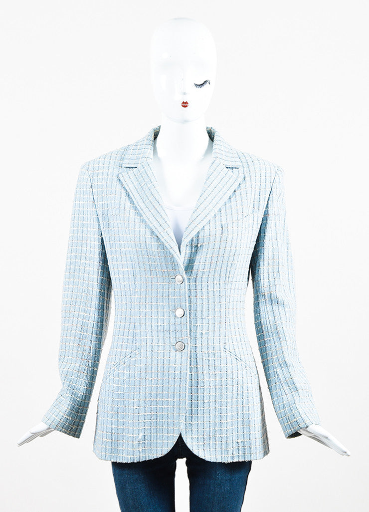 Chanel Light Blue and Multicolor Wool Tweed Plaid Collared Jacket Frontview 2