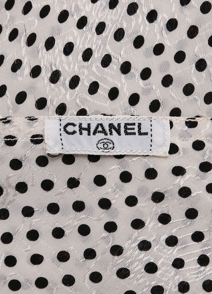 Chanel Cream and Black Silk Jacquard Polka Dot Print Blouse Top, Skirt and Scarf Set Brand