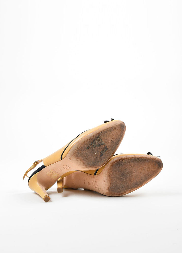 Tan and Black Chanel Leather Almond Toe Slingback Bow Pumps Outsoles