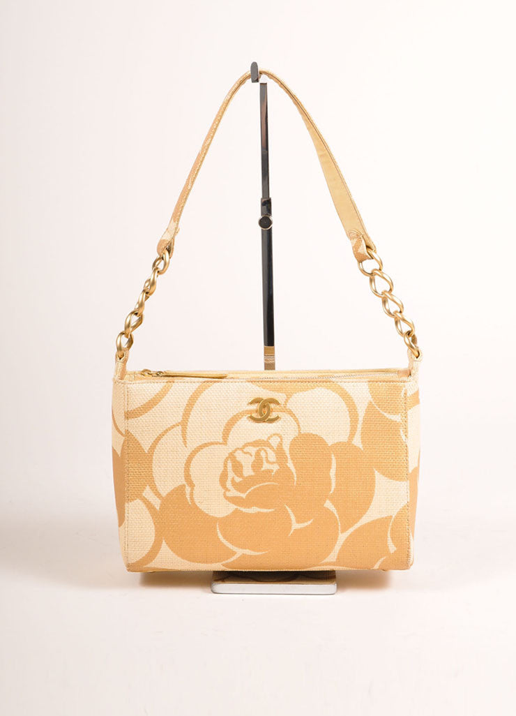 Chanel Tan and Metallic Gold Woven Raffia Camellia Print Shoulder Bag Frontview