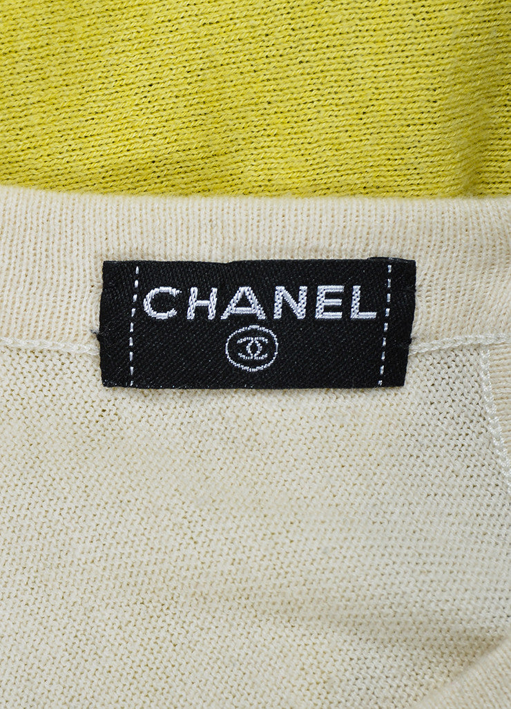 Yellow, Blue, and Grey Chanel Cotton and Cashmere Blend Sleeveless Knit Dress Brand