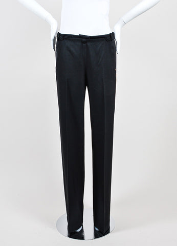 Black and Gold Chloe Wool Straight Leg High Waisted Trousers Frontview