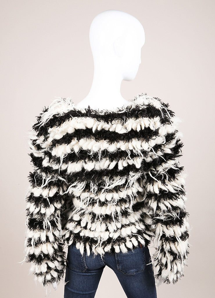 Chloe New With Tags Black and Cream Mohair and Alpaca Striped Shaggy Pullover Sweater Backview