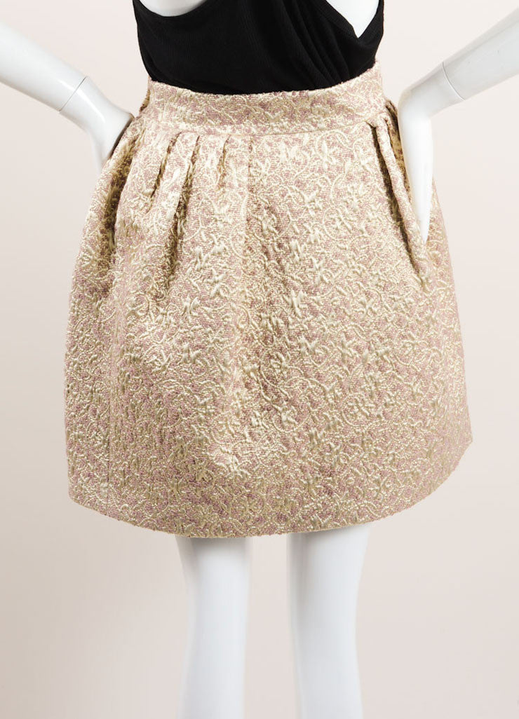 Christian Dior Gold, Silver, and Mauve Wool and Silk Metallic Brocade Wrap Skirt Backview
