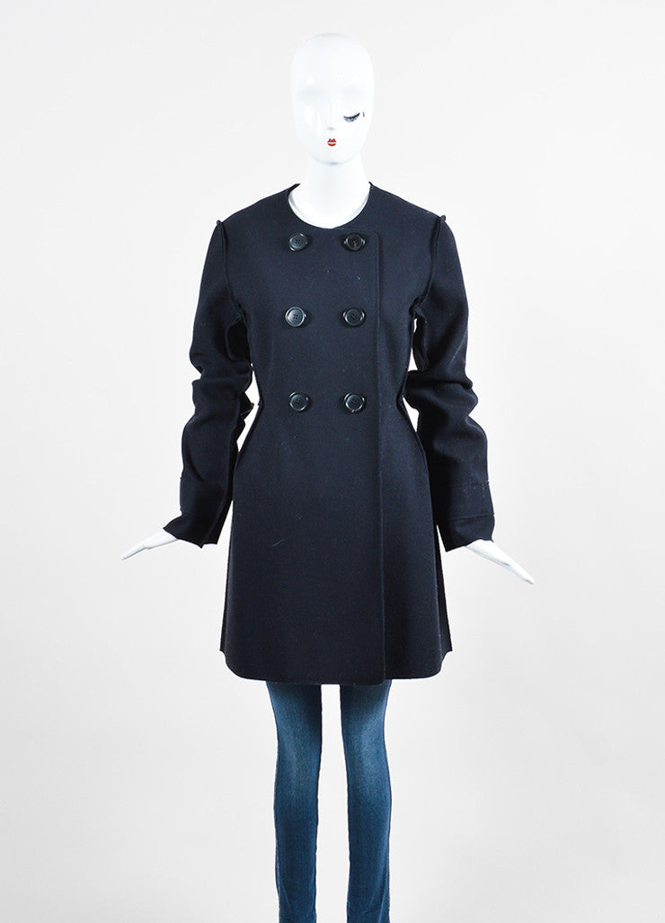 Christian Dior Navy Wool Exposed Seam Double Breasted Coat Frontview 2